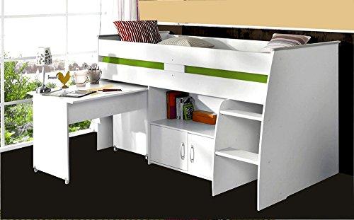Hochbett mit Schreibtisch und Ablagefächern